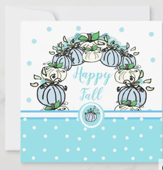 Happy Fall Farmhouse Blue Pumpkin Blank Notecards / Stationery , Thank You Card, Thinking of You