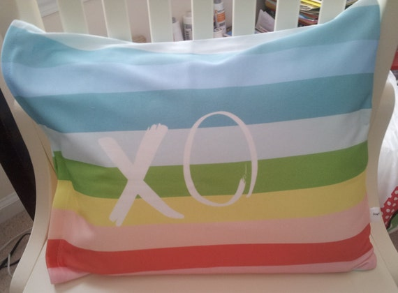 Retro Mod Pillow Case Rainbow XO -  12x16, Colorful Spring Pillow Case, Kids Bedroom Decor, Organic Cotton Bedding, Nursery, READY to SHIP