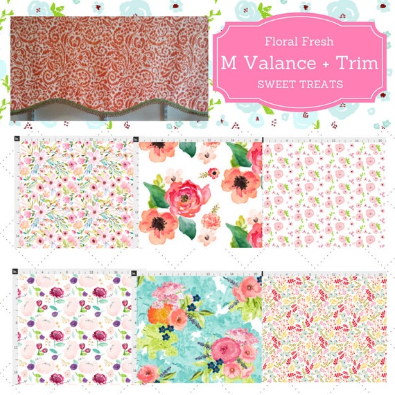Custom Valance Shaped M with Trim - Floral Valance, Farmhouse  Shabby Chic Valance, Tropical Kitchen Valance,  Kids Curtain