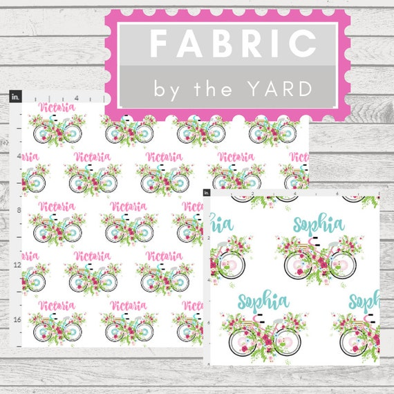 PERSONALIZED Fabric Yard - Beach Bike - pink mint Fabric, Gauze, Quilting, Linen, Cotton, Minky, Fleece, Organic Cotton, Upholstery, DIY