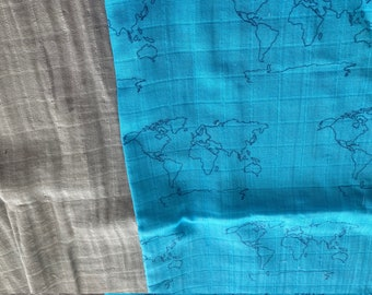 REMNANT pair - World Map Ocean Blue & Solid Gray / Double Gauze - Organic Cotton