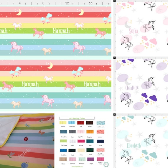 Personalized Organic Cotton  Blanket -  Unicorns & Tropical Rainbow Buggles - Baby/Toddler Blanket, Name Quilt Gift, Nursery Decor