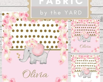 PERSONALIZED Name Fabric Yard - Cute Elephant Rose Gold  Floral Polka Dot | Gauze, Quilting, Cotton, Minky, Fleece, Organic Cotton, DIY