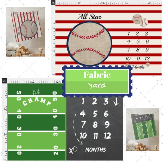 Fabric Yard |Monogram Blank-Monthly Milestone Baseball & Football Baby Fabric, Gauze, Cotton, Minky, Fleece, Organic Cotton, Can PERSONALIZE