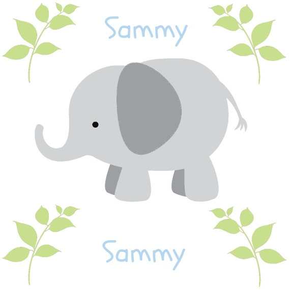Elephants in a Row Gray Personalized - Organic Cotton Blanket -Baby / Toddler Blanket, Elephant Blanket, Personalized Newborn Swaddle