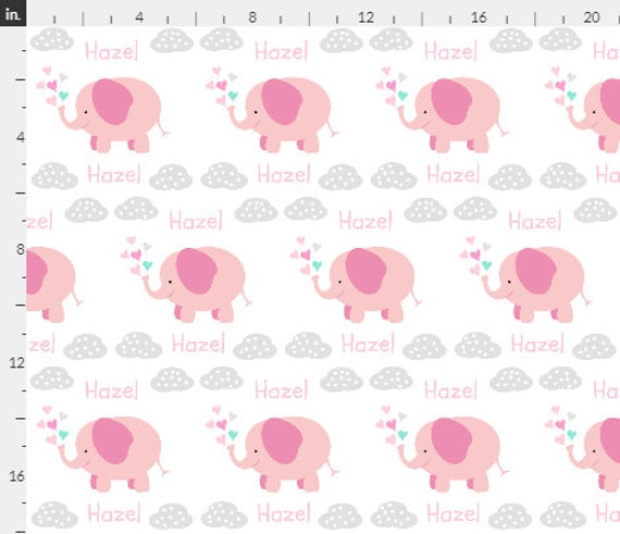 PERSONALIZED Elephant Name Fabric by the Yard - Cute Pink Elephant Polka Dot Clouds | Gauze, Quilting, Cotton, Minky, Fleece, Organic Cotton