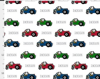 PERSONALIZED 4 Wheeler Name Fabric by the  Yard - Colorful Off Road Cars | Gauze, Quilting, Cotton, Minky, Fleece, Organic Cotton, DIY