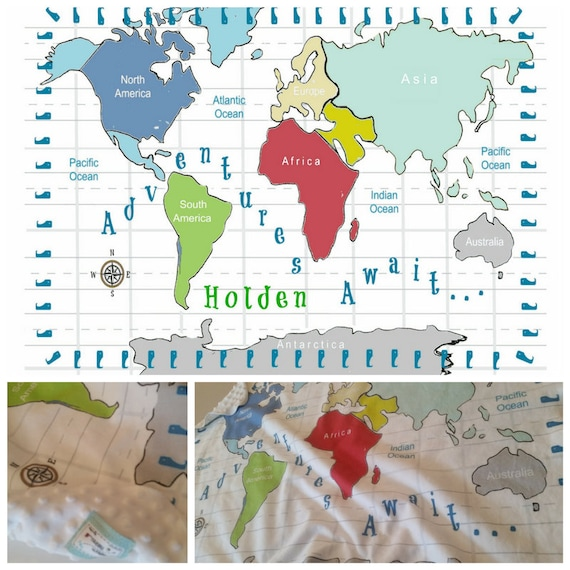World Map Personalized 2 layer Blanket RED 2 sizes, Many Text colors, Colorful Custom Kids - Toddler Name Blanket, Nursery Decor,  Baby Gift