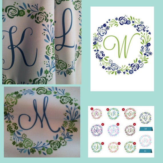 Quilt Square Fabric - 8x8 Monogram Shabby Chic Wreath - Personalized Fabric, SINGLE Initial A-Z | linen,cotton,minky,organic cotton