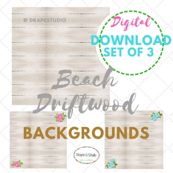Digital Download | Printable - Rustic White Wood Background, Flatlay, Beach Driftwood 3 Image Set - Plain, Blue Rose, Pink Rose