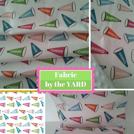 Fabric by the Yard - Cheer Megaphones blue, pink, green, Upholstery, Quilting, Linen, Cotton, Minky, Fleece, Organic Cotton, DIY
