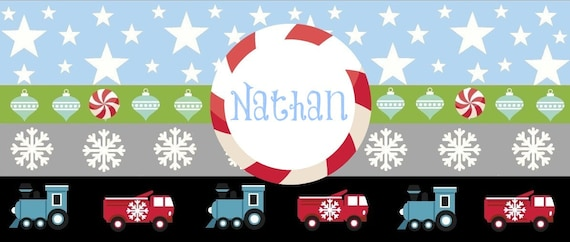 Organic Cotton Personalized Blanket Candy Train & Trucks 32x50 baby boy, toddler boy blanket, Christmas Blanket, Personalized Gift