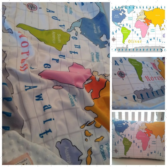 World Map Personalized 2 layer Blanket 2 sizes, Colorful Text, PINK color way, Custom Kids - Toddler Name Blanket, Nursery Decor,  Baby Gift