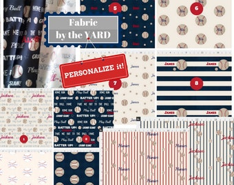 PERSONALIZED Fabric by the Yard - Baseball Sports Fabric, Gauze, Quilting, Linen, Cotton, Minky, Fleece, Organic Cotton, Upholstery, DIY
