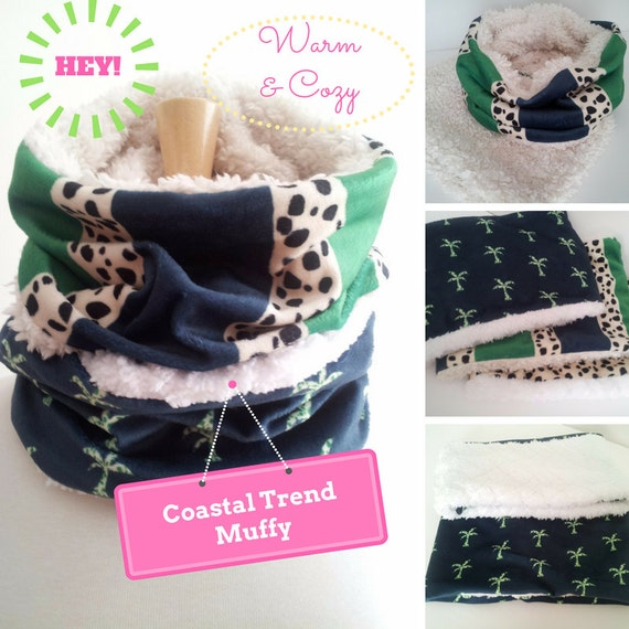 Ready to SHIP Infinity Scarf SHORT - MUFFY Cheetah Navy & Kelly Green Stripes, Cheetah Palm| Winter Women Fashion Accessory | Kids Scarf