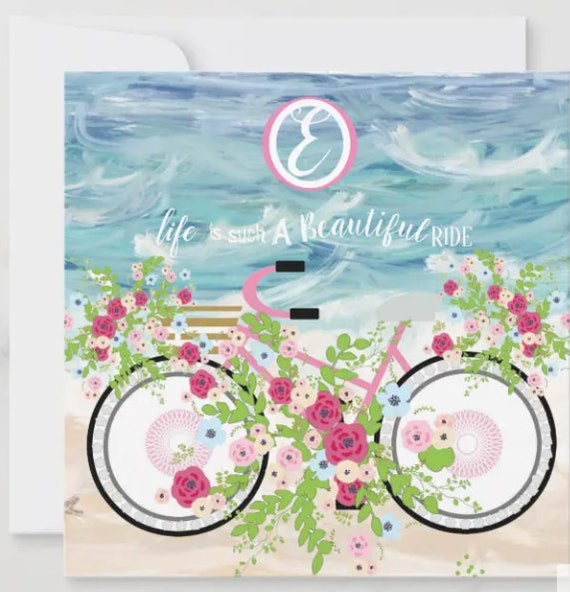 Personalized Stationery -  Beach Bike Monogrammed Cards, Birthday Gift, Bridal Party Gift, Blank Notecards, Thank You Card, Thinking of You