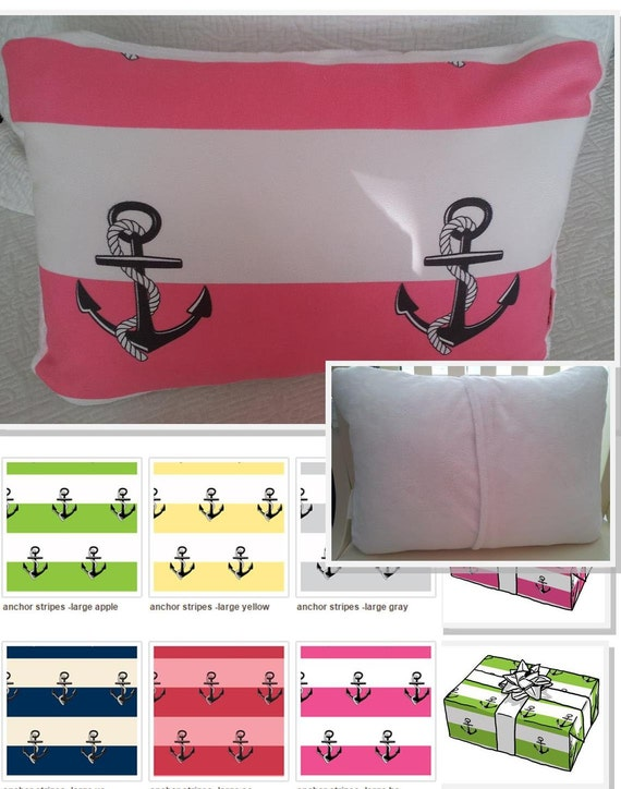 MONOGRAM BLANK Summer Coastal / Poolside Pillow COVER 12x16 Anchors & Stripes, Preppy Home Decor, Nautical Boat Pillow Cover