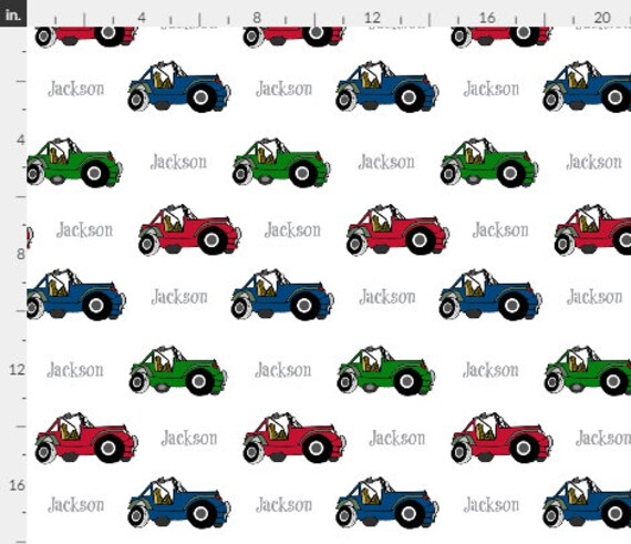 PERSONALIZED Jeeps Name Fabric by the  Yard - Colorful 4 Wheelers | Gauze, Quilting, Cotton, Minky, Fleece, Organic Cotton, DIY