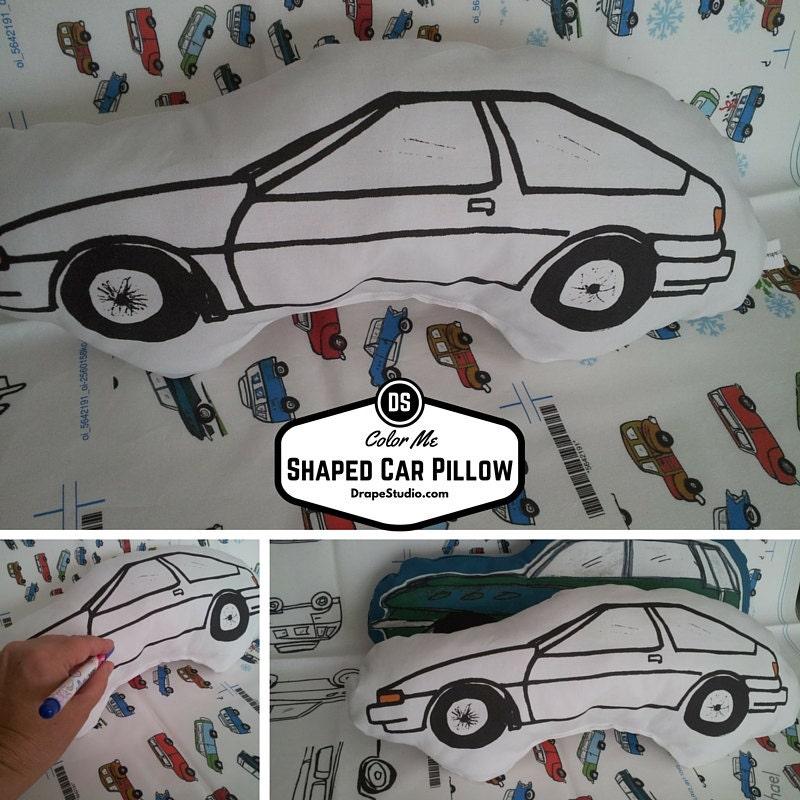 READY to SHIP Color Me Fabric Car Shaped Pillow, Nursery Decor, Boy ...
