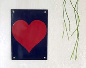 Vintage heart sign - numbered and dated | metal wall decor