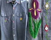 Vintage Big Mac embroidered chambray button down shirt | size small | SM
