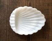 Vintage milk glass shell dish | entryway plate catchall | jewelry tray