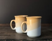Vintage set two yellow mugs | ombre striped sunny yellow cups