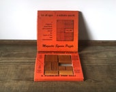 Vintage puzzle game | wood magnetic square