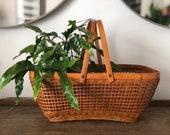 Vintage two handled gathering basket | rattan open weave | harvest basket | basket with handles