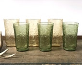Vintage Pagoda avocado green and amber Anchor Hocking glass tumblers | bark pattern textured glasses | glassware