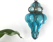 Vintage blue blown glass swag ceiling lamp | pendant light | caged glass | Art Deco lighting