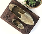 Vintage etched brass paperweight set | slipper shoe ashtrays