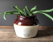 Vintage blue crown bean crock with handles | Robinson Ransbottom #3 bean pot | 3 quart