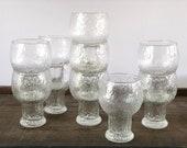 Vintage glasses set | 10 Indiana Glass Glacier pattern | textured water goblets | stackable