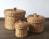Vintage wicker lidded containers set | rattan storage baskets |