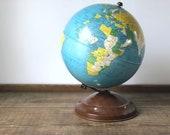 "RARE Vintage Replogle simplified 8"" metal globe  | Gustav Brueckmann cartographer | woodgrain base"
