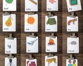 Vintage flash cards | colorful nursery decor | children learning tool | child room | children's artwork
