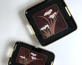 Vintage set Japanese floral black lacquer trays | serving nesting tray