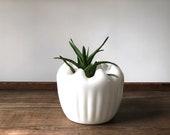 Vintage milk glass folded edge vase | white glass planter | scalloped plant pot
