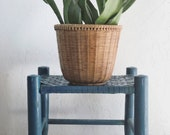 Vintage wooden stool | painted blue small wood and woven wicker | child step