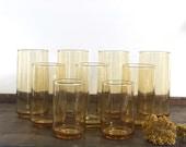 Vintage amber mid century set of 9 water and juice glasses | minimalist design drinkware