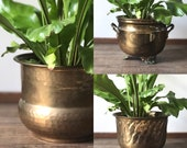 Vintage medium-sized brass houseplant pots | planter indoor plants