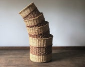 Vintage wicker houseplant basket set of four | rattan planter baskets | indoor plant | houseplants