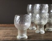 Vintage set of 7 Indiana Glass Glacier clear water goblets | textured glasses | water goblet