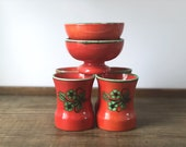 Vintage West German pottery RARE set | MCM red orange Zell am Harmersbach cups and bowls | West Germany |