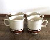 Vintage set four handpainted stoneware Japanese mugs | stackable ceramic coffee cups | vintage set three studio pottery speckled brown mugs