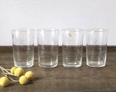 Vintage etched glasses set | Noritake Quartex crystal wheat | juice glass