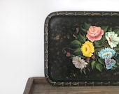 Vintage tole serving tray | metal | hand painted and signed | floral and black coffee table tray