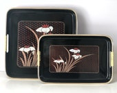 Vintage tray set | Japanese floral black lacquer trays | serving nesting tray