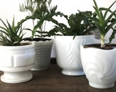 Vintage milk glass planters | indoor plant pot |pots for houseplants | vintage wedding